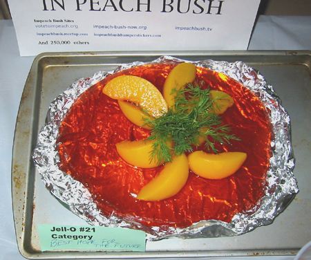 In Peach Bush Jell-O: peaches in red Jell-O